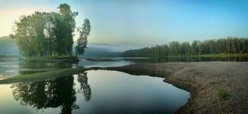 Rivierkreek met een eiland met bomenpanorama Royalty-vrije Stock Foto's
