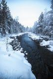 Rivierlandschap in sneeuw wordt behandeld die stock foto