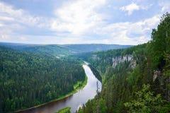 Riviermening vanaf de bovenkant van de berg Royalty-vrije Stock Afbeelding