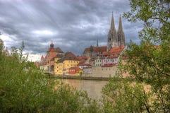 Rivieroever in Regensburg Stock Foto