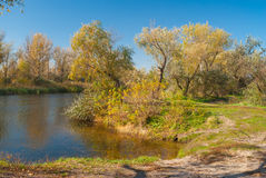 Rivieroever van kleine Oekraïense rivier Oril stock afbeelding