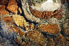 Rivierstenen in het rivierwater Kiezelstenen onder water De mening vanaf de bovenkant royalty-vrije stock foto's