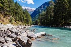Riviervallei in de bergen met bos worden behandeld dat Royalty-vrije Stock Foto