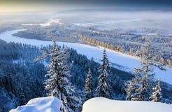 Riviervallei in Zuid-Yakutia Chulman Royalty-vrije Stock Afbeelding
