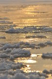 Rivière débordante de banquise Le milieu de l'hiver Le lit de la rivière Basses températures dans le jour givré Images stock