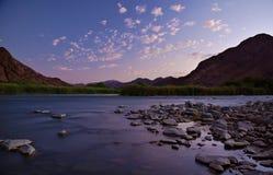 Rivière orange - terrain de camping de De Hoop Images stock