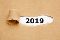 Rivit sönder pappers- begrepp för nytt år 2019 royaltyfri foto