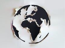 Rivit sönder pappers- jordklottecken royaltyfri illustrationer