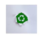 rivna paper sidor för hål Gammalt papper för Symbo rlecyclelogo Royaltyfri Foto
