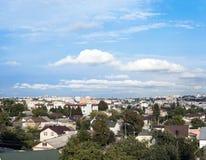 Rivne cityscape in Ukraine. Bu cloudy blue sky royalty free stock image
