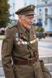 Rivne Ukraina - Oktober 14, 2012 Veteran av den ukrainska Insuen Arkivfoton