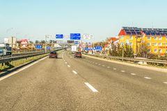 Rivne, Ukraine - April 9, 2018: Fragment of the Ukrainian international highway M-highway, connecting Kiev with the Hungarian Royalty Free Stock Photos