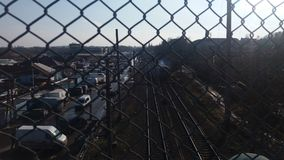 Rivne Ukraine Eisenbahnen sehen von der Brücke an Lizenzfreies Stockbild