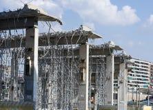 Rivning av en stads- bro Royaltyfria Foton