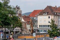 Rivning av en tysk Sparkasse för bankbyggnad i Bayreuth Arkivfoto