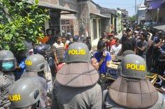 Rivning av hus på land ägd halv liter KAI i Semarang Royaltyfri Foto