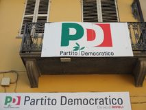 Democratic Party headquarters in Rivoli stock photography