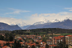 Rivoli landscape. View of Rivoli with mountains on background Stock Images