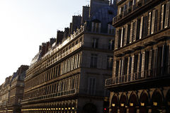 Rivoli Street at sunset, Paris France - August 2015 Royalty Free Stock Photography