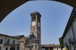 Rivolta d `阿达河克雷莫纳,意大利:圣Sigismondo,中世纪教会 图库摄影