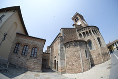 Rivolta d `阿达河克雷莫纳,意大利:圣Sigismondo,中世纪教会 免版税库存照片