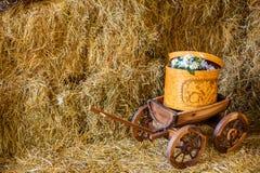 Rivolti il fieno il giorno soleggiato del granaio del barilotto del carretto del carretto del carretto delle mele dell'azienda ag Fotografie Stock
