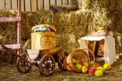 Rivolti il fieno il giorno soleggiato del granaio del barilotto del carretto del carretto del carretto delle mele dell'azienda ag Immagini Stock
