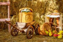 Rivolti il fieno il giorno soleggiato del granaio del barilotto del carretto del carretto del carretto delle mele dell'azienda ag Fotografia Stock