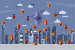Rivoluzione di Blockchain e di Ethereum Fotografia Stock Libera da Diritti
