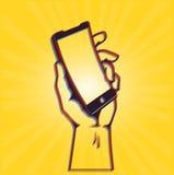 Rivoluzione di Digital: smartphone della curva della tenuta della mano Immagine Stock Libera da Diritti