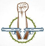 Rivoluzione ed emblema aggressivo o logo di tumulto con il forti pugno chiuso, tatuaggio di vettore, anarchia e caos, partigiano  royalty illustrazione gratis