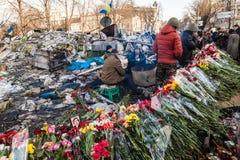 Rivoluzione ucraina, Euromaidan dopo un attacco dal governo f Fotografie Stock Libere da Diritti