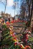 Rivoluzione ucraina, Euromaidan dopo un attacco dal governo f Fotografia Stock Libera da Diritti