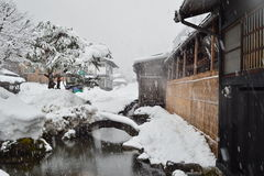 Rivulet in Shirakawa-go. These villages are well known for their houses constructed in the architectural style known as gasshō-zukuri (合掌造り). The Gassh Royalty Free Stock Photography