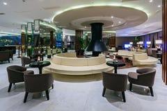 Rixos Krasnaya Polyana Hotelowa recepcyjna sala i lobby prętowy wnętrze projektujący z nowożytnym wystrojem i wygodnym położeniem zdjęcia stock