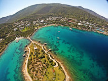 Rixos Premium Bodrum Hotel, Turkey. Bodrum, Turkey - View from Rixos Bodrum Preimum Hotel located in Torba, Bodrum by the Aegean Sea, Turkey. Rixos is a Turkish stock images