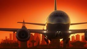 Riyadh Airplane Take Off Skyline Golden Background