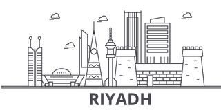 Riyadh architecture line skyline illustration. Linear vector cityscape with famous landmarks, city sights, design icons. Editable strokes royalty free illustration