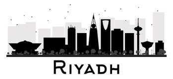 Riyadh City skyline black and white silhouette. Royalty Free Stock Photo