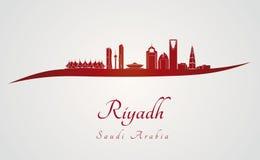 Riyadh horizon in rood Stock Afbeelding