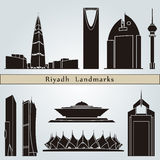 Riyadh landmarks and monuments. Isolated on blue background in editable vector file Royalty Free Stock Photography