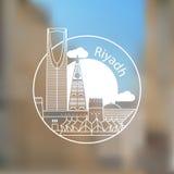 Riyadh lineair embleem In modieuze oriëntatiepunten Masmakvesting en Koninkrijkstoren - het symbool van Riyadh, Saudi-Arabië Royalty-vrije Stock Foto
