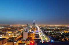 Riyadh linii horyzontu nocy widok obraz royalty free