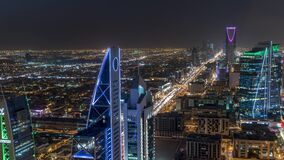Riyadh, Oalya / Saudi Arabia:Saudi Arabia Riyadh landscape TimeLapse - Time-Lapse - Riyadh Tower Kingdom Centre -