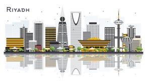 Riyadh Saudi-Arabië Stadshorizon met Gray Buildings Isolated  vector illustratie