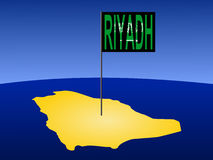 Riyadh on Saudi Arabia map Royalty Free Stock Image
