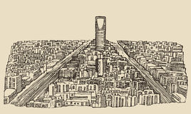 Riyadh skyline engraved vector hand drawn sketch Stock Images