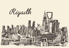 Riyadh skyline engraved vector hand drawn sketch Royalty Free Stock Images