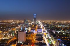 Riyadh skyline at night #1, Showing Olaya Street Metro Construction. Riyadh skyline at night, Capital of Saudi Arabia, Showing Olaya Street Metro Construction royalty free stock photo