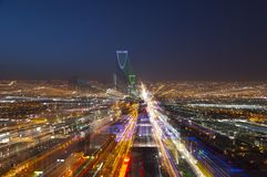 Riyadh skyline at night, zoom in effect Stock Photo
